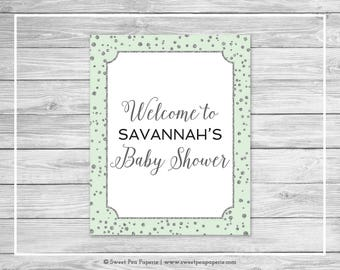 Mint and Silver Baby Shower Welcome Sign - Printable Baby Shower Welcome Sign - Mint and Silver Confetti Baby Shower - EDITABLE - SP152