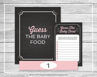 Chalkboard Baby Shower Guess The Baby Food Game - Printable Baby Shower Guess The Baby Food Game - Pink Chalkboard Baby Shower - SP155