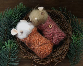 Mouse in the nest with needle felting