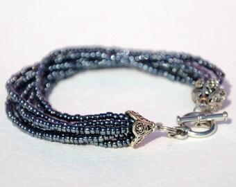 Girlfriend gift for Womens Gift|for|her Dark bracelet Beaded bracelet Multi Strand bracelet Bead bracelet Everyday jewelry Beaded jewelry