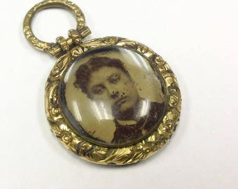Antique, late Georgian to early Victorian, memorial or mourning fob penda with antique tintype photo. AF.