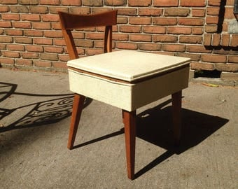 MCM Vintage DANiSH CHAiR With Storage Compartment   Sewing, Vanity Or DESK  Chair Mid Century Photo Gallery