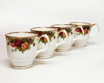 Set of 4 Royal Albert Old Country Roses Mugs Montrose Shape