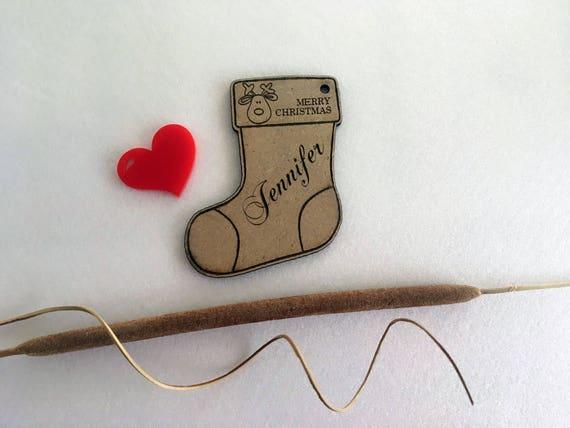 FREE shipping Personalised Christmas Stocking Ornament Christmas stocking gift tag Custom name ornaments Tree decoration Custom Stocking Set
