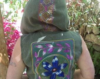 Shakruna Songs, Cowl hooded  waistcoat Burning Man/Shamanic/Steam punk/Tribal/woodland/psycadellic w3
