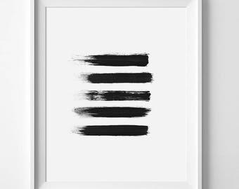 Brush Strokes, Brush Stroke Art, Brush Print, Black Painting, Abstract Print, Abstract Art, Black Wall Art, Minimalist Print, Simple Print
