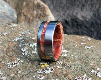 Wood Wedding Band, Titanium Ring, Koa Wood Ring, Koa Wedding Ring, Wood Wedding Ring. Mens Ring, Titanium Wedding Ring, Koa Ring