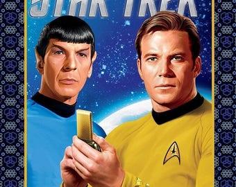 "Star Trek Kirk Spock panel 100% cotton 43"" Fabric by the panel 35""  ( CA241)"