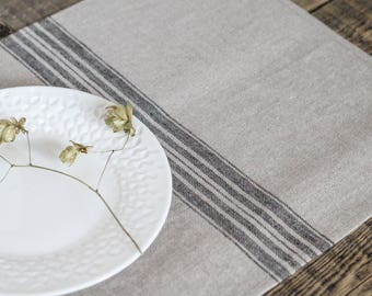 Grain sack placemats Farm style Burlap cloth tablemats, Stripe Cottage decor, Lake house decor