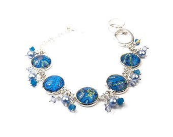 Blue Abstract Beach Bracelet with Pearls and Crystals