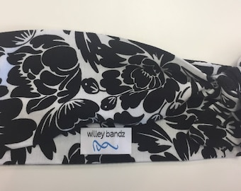 Black and White Floral 3-inch headband