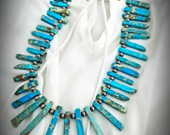 Jasper/silver fan necklace 30 inches