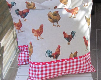 """Pillow cover 40x40cm (16""""x16""""), Farmhouse Decor, Farmhouse pillow, Hens and Rooster, Rooster Pillows, Cottage, house warming, Christmas gift"""