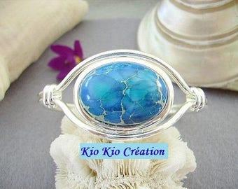 Bracelet, Bangle, original, oval, adjustable sterling silver 10 microns, sediment Jasper blue, Gemstone Ring open, oval cabochon, women's fashion jewelry
