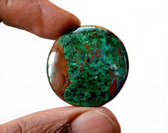 Chrysocolla 34 Cts AAA Quality Natural Gemstone Attractive Designer Round Shape Cabochon 27x27x4.6 MM R14063