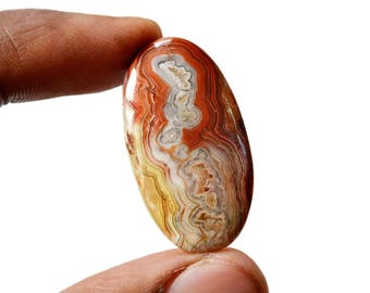 Crazy Lace Agate 29.5 Cts Natural Gemstone Cabochon Oval Shape Agate 35x19x5 MM R14876