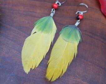 Macaw Feather Earrings w/ Huayruro