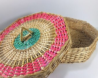 Vintage Large Flat Basket with Lid, Lidded Storage Basket , Octagonal Basket, Wicker Basket Pink Green Accents, Office Storage, Toy Storage