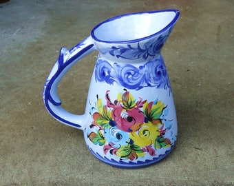 Portugal pitcherl pottery jug ceramic,vintage portugal floral pitcher blue,kitchen decoration