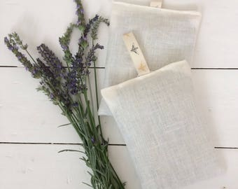 SALE - 100% Linen French Lavender Bag - Handmade French Lavender Sachet