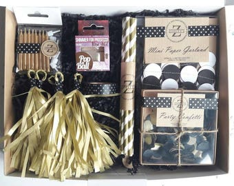 Birthday in a Box, Birthday Gift, Confetti, Gift Box, Tassel Garlands, Black Gold, Surprise, Birthday supplies, Party supplies, Party Box