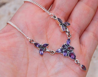 Dazzling Amethyst    Set in 925 Solid Sterling Silver Necklace