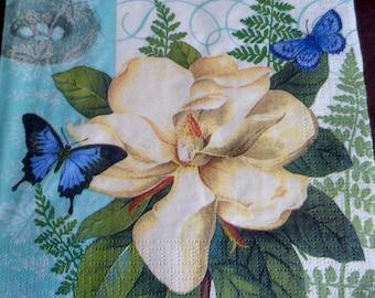 5 white magnolia, ppd paper napkin paper napkins