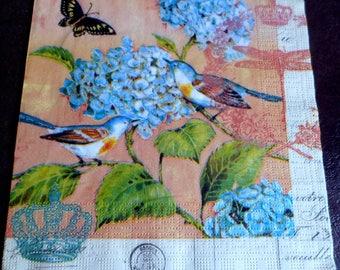 4 paper napkins brand PPD, birds, napkins Botanicus pink napkin