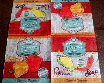 Peppers 3 paper napkins, paper towel tapas, vintage paper towel