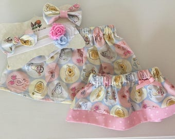 Winnie the Pooh Skirt / Skirt with Bow / Pooh & Friends Skirt / Baby Skirt / Toddler Skirt / Girls Skirt / Birthday Party Skirt