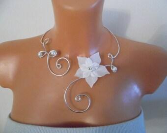 set 4 pieces white wedding silk flower Silver Aluminum wire bridal witness