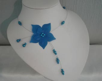 blue silk flower wedding bridal Necklace dark Pearl bridesmaid jewelry Navy Blue Royal navy blue