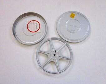 Vintage 8mm Film Reel & Case, Silver Vintage Film Reel w/Case, Small Vintage Metal Film Reel and Case, Vintage Kenco Movie Reel and Case