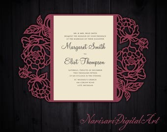 Peonies cut Wedding invitation, 5x7 Gate fold Card Template, Quinceanera Invitation, SVG cutting file, Silhouette Cameo, Cricut