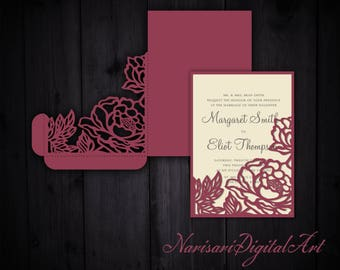 Peonies Wedding Invitation Pocket Envelope 5x7 SVG Template Quinceanera Card Floral Laser Cut