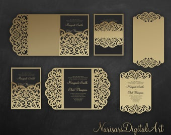 Laser cut wedding invitation Set, Cricut Template, Gate Fold, Tri fold pocket Envelope, Bellyband, Menu, SVG, DXF, Silhouette Cameo