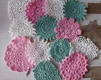 Pink white and teal crochet medallions 13 hand dyed small vintage doilies
