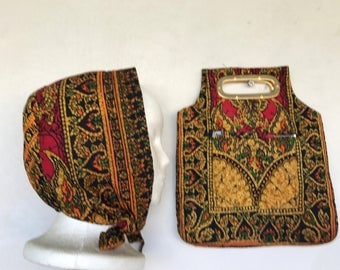 Vintage Quilted Bonnet and Handbag, made in Thailand