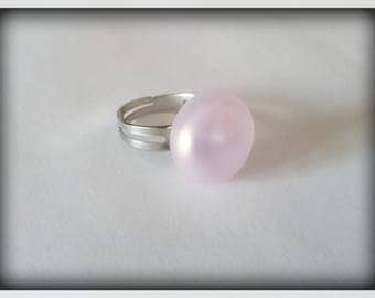Pearl Cabochon rose Lampwork Glass Adjustable ring