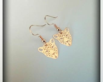 Leopard prints earrings filigree