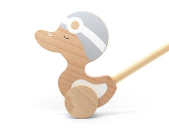 Wooden Duck - Duck Toy - Wooden Push Toy - Push Toy Duck - Wood Toddler Toy - Wooden Duck Push Toy