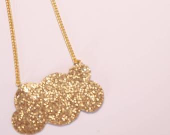 Necklace cloud glitter gold