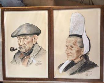 Vintage Pair French Breton Prints Daniel Derveaux The Old Sea Wolf