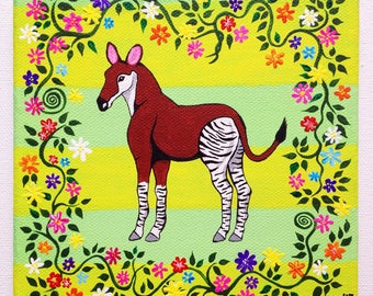 "Original Okapi Painting on Canvas 6"" x 6"" / 15 cm x 15 cm"