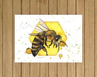 Honey Bee, Bee Print, Illustration, Wall Art, Decor, A3, A4