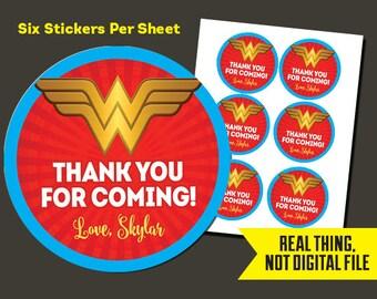 Wonder Woman Stickers   Wonder Woman Birthday - Wonder Woman Thank You Stickers