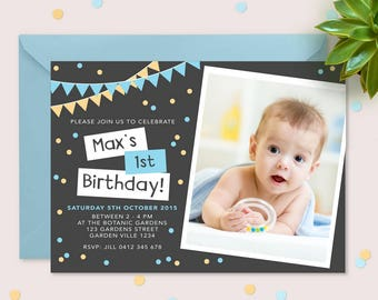 1st birthday invitation boys (Digital File) // I customise for you to print // Blue and yellow bunting and confetti personalised with Photo.