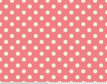 FABRIC REMNANT - Pink and White Polka Dot - Indian Summer by Zoe Pearn Designs Riley Blake 1/2 Yard