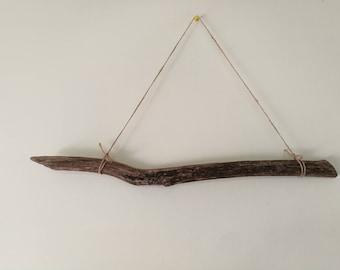 """Dark Driftwood Piece For Macrame & Tassel Wall Hanging Driftwood Branch - 21"""" Natural Driftwood Beach Decor"""