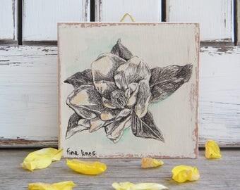 Magnolia Flower Print, Botanical Art Print, Miniature Painting, Bohemian Art, Nature Art, Wood Signs, Flower Wall Decor, Gift Under 15